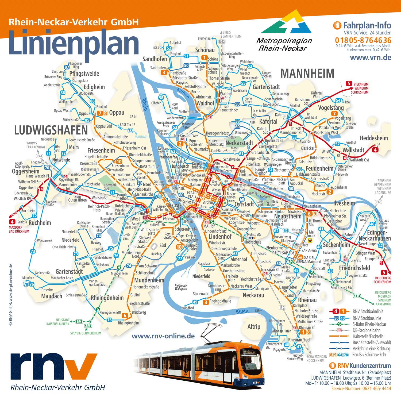 Linienplan Mannheim-Ludwigshafen