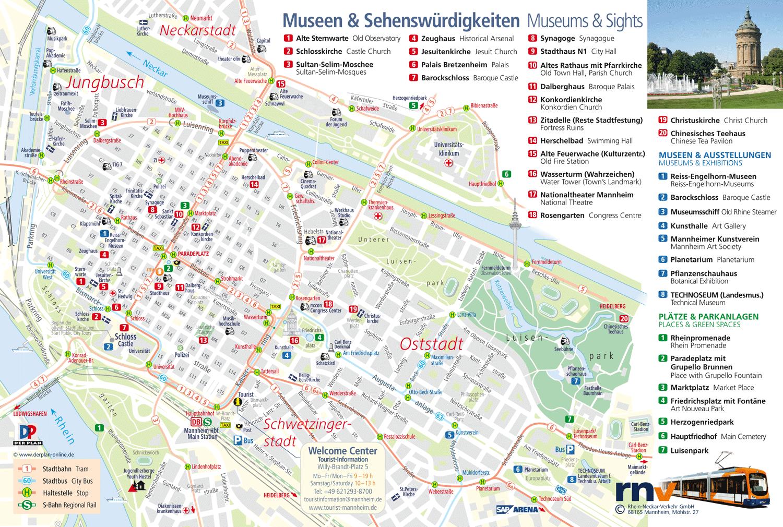Plan der Sehenswürdigkeiten Mannheims