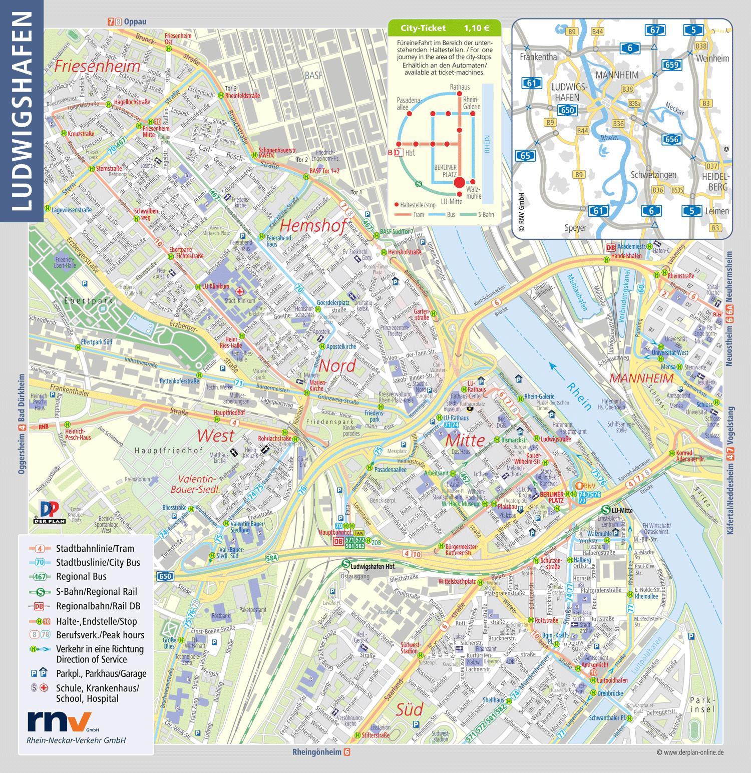 Stadtplanausschnitt Ludwigshafen