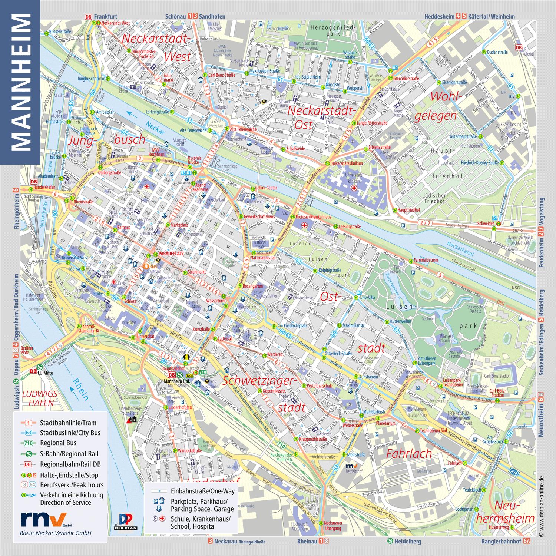 Stadtplanausschnitt Innenstadt Mannheim