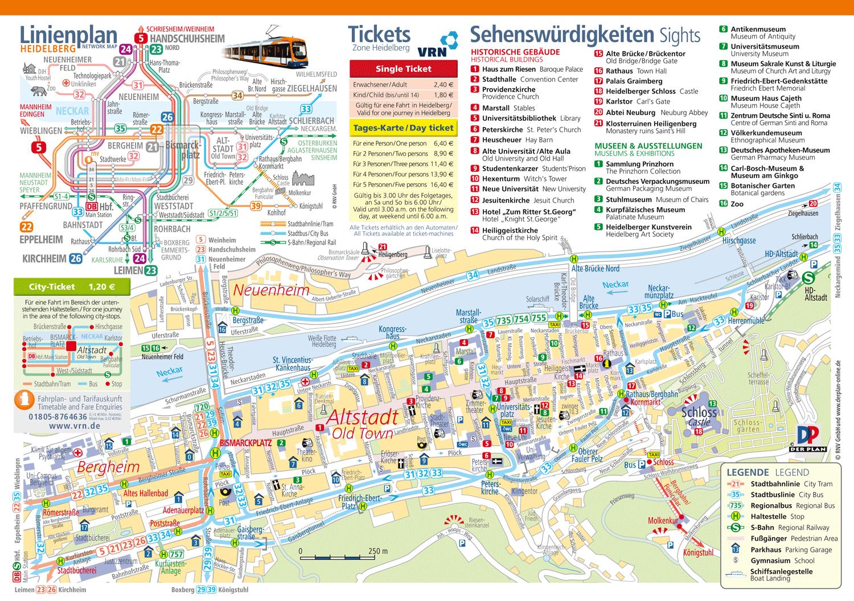Touristischer Altstadtplan Heidelberg