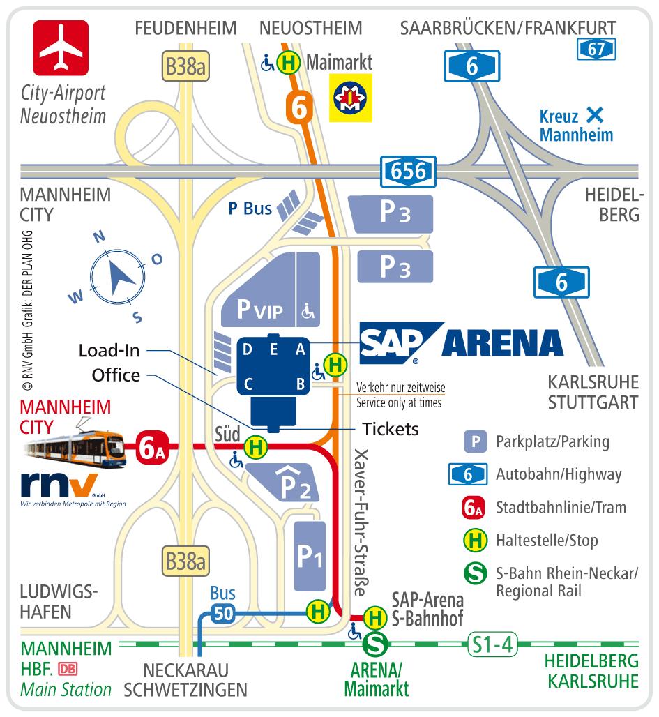 Lageplan SAP-Arena Mannheim