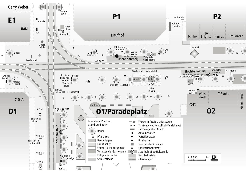 Ausschnitt Lageplan Planken Mannheim
