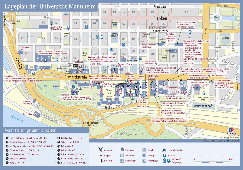 Lageplan Universität Mannheim